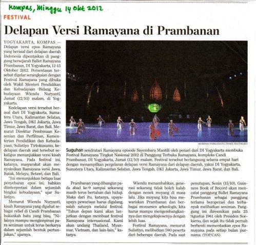 Festival Ramayana 2012 di Panggung Terbuka Ramayana kompleks Candi Prambanan, DI Yogyakarta.